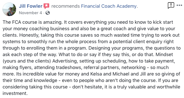 Financial Coach Academy - Live Course Details, Pricing